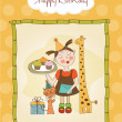 Happy Birthday card with funny girl, animals and cupcakes — Stock Photo #21898757
