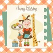 Royalty-Free Stock Photo: Happy Birthday card with funny girl, animals and cupcakes