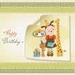 Happy Birthday card with funny girl, animals and cupcakes — Stock Photo