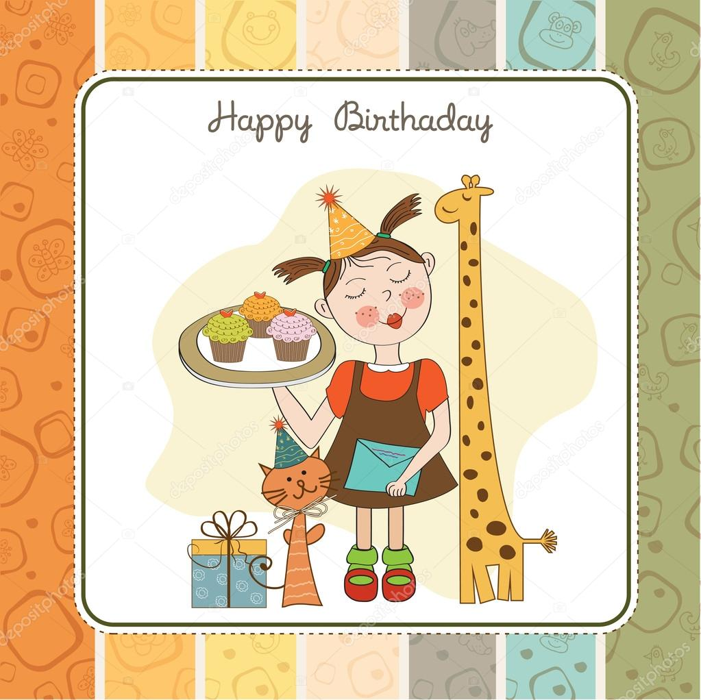 Happy Birthday card with funny girl animals and cupcakes – Funny Girl Birthday Cards