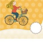 Happy girl on bike — Stock Photo #22301341