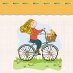 Happy girl on bike — Stock Photo #22301363