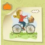 Happy girl on bike — Stock Photo #22301371
