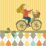 Happy girl on bike — Stock Photo #22301375
