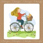 Happy girl on bike — Stock Photo #22301377