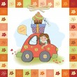 Birthday card with funny little girl — Stok fotoğraf