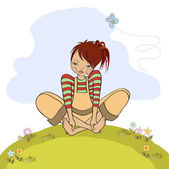Romantic girl sitting barefoot in the grass — Stock Photo