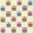 Childish seamless pattern with cupcakes — Stock Photo