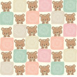 Childish seamless pattern with teddy bear - Stock Photo