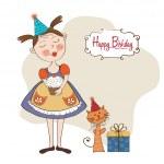 Girl with birthday cake — Stock Photo #25549979