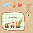 New baby announcement card with animal's train - Stock Photo
