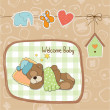 Baby shower card with teddy bear toy — Stock Photo