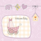 Baby girl shower card with stroller — Stock Photo