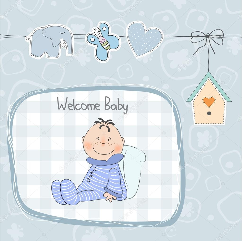 New baby announcement card with little baby Photo – New Baby Boy Announcement
