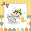 Baby boy shower card — Stock Photo
