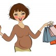 Happy pregnant woman at shopping, isolated on white background — Stock Photo #26114225