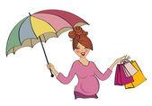 Mulher grávida feliz no shopping, isolado no fundo branco — Foto Stock