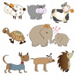 Stock Photo: Funny animals cartoon set isolated on white background