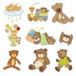 Funny teddy bears set isolated on white background — Stock Photo