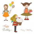 Stock Photo: Set of three girls birthday party isolated on white background