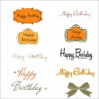 Happy birthday texts set isolated on white background — Stock Photo