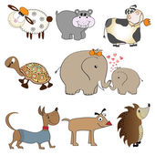 Funny animals cartoon set isolated on white background — Stock Photo