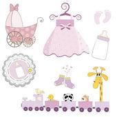 Baby girl items set isolated on white background — Stock Photo