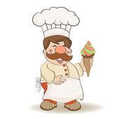 Funny chef with icecream — Stock Photo