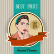 Retro illustration of a beautiful woman and best price message — Stock Photo