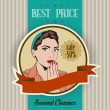 Stock Photo: Retro illustration of a beautiful woman and best price message