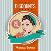 Retro illustration of a beautiful woman and discounts message — Stock Photo