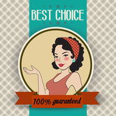Retro illustration of a beautiful woman and best choice message — Стоковое фото