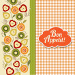 Foto de Stock  : Bon appetite card with fruits