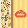 Bon appetite card with fruits — Stock fotografie