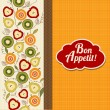 Bon appetite card with fruits — Stock Photo