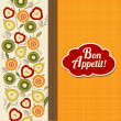 Bon appetite card with fruits — Stok fotoğraf
