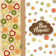 Foto Stock: Bon appetite card with fruits