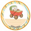 Baby boy shower card with retro strolller — 图库照片