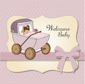 Baby girl shower card with retro strolller — Stock Photo