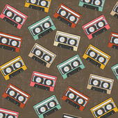 Seamless background with vintage analogue music recordable casse — 图库照片