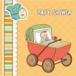 Baby boy shower card with retro strolller — Stock Photo