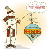Snowman with big Christmas ball — 图库照片