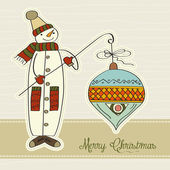 Snowman with big Christmas ball — Stok fotoğraf