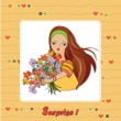 Stock Vector: Girl bunch of flowers