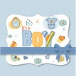 Stock Vector: Baby boy shower card