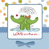Valentine's day background with crocodiles — Stock Vector
