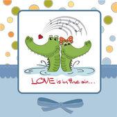 Valentine's day background with crocodiles — Stockvektor