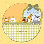 Baby shower card with funny animals — Stock Vector