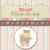 Baby announcement card with hippopotamus — Stock Vector
