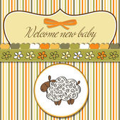Baby announcement card with sheep — Stockvector